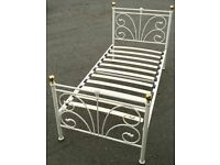 Single Cream Metal Bed Frame/ Free delivery available
