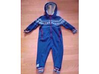 Next Blue White Red Fair Isle Unisex Baby Playsuit Baby Grow Pram Suit(Age 2-3).