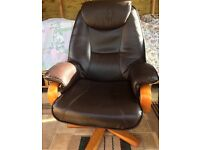 Leather Reclining Swival Chair