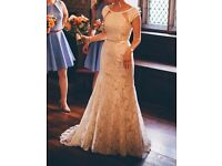 Ivory & Champagne Designer Wedding Dress - Size 8-10