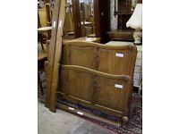 Louis XV Style Vintage French Carved Oak Double Bed Frame - (001770)