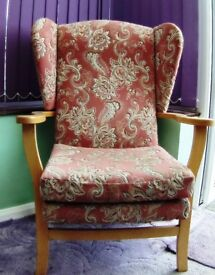 Great Sturdy Supportive Upholstered Wing Back Chair with Wooden Arms
