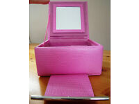 Jewellery box by Dulwich designs: pink snake skin effect leather/mirror inside lid. £5 ovno.