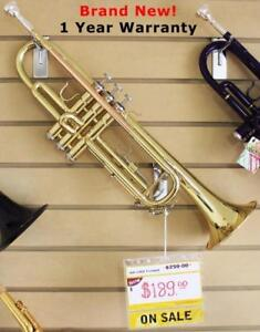 Gold Trumpet www.musicm.ca Brand New Quality Instruments With Warranty Comes with Foam Case, Valve Oil, Cleaning Cloth