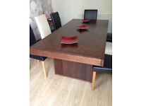 Beautiful Walnut Dining Table, Chairs and Walnut Sideboard