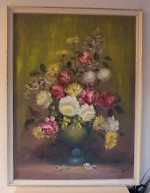 Oil paint on canvas signed picture of the Flowers professionally framed