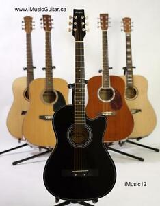 Acoustic guitar with free capo and strap for beginners iMusic12 black 38 inch