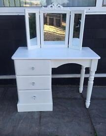White Dressing Table With triple mirror