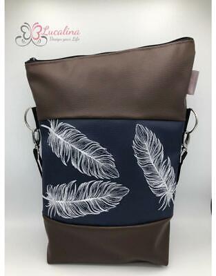 Handtasche Foldover (3 Federn) *handmade *bestickt Umhängetasche