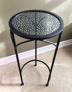 Black Metal Side Table with Glass Top