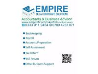 Accountancy / Payroll / Bookkeeping / VAT / CIS / Tax return @ Fixed Fee South East & East London