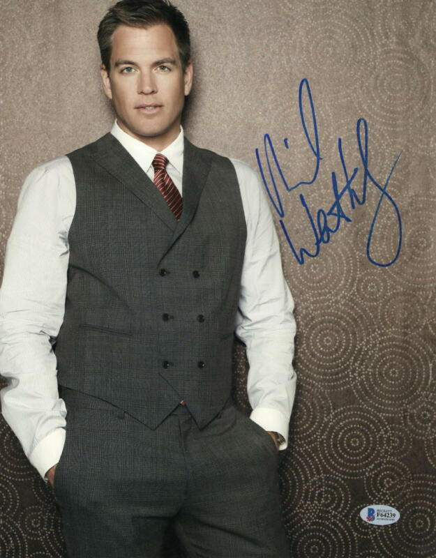 MICHAEL WEATHERLY SIGNED 11X14 PHOTO NCIS AUTHENTIC AUTOGRAPH BECKETT COA F
