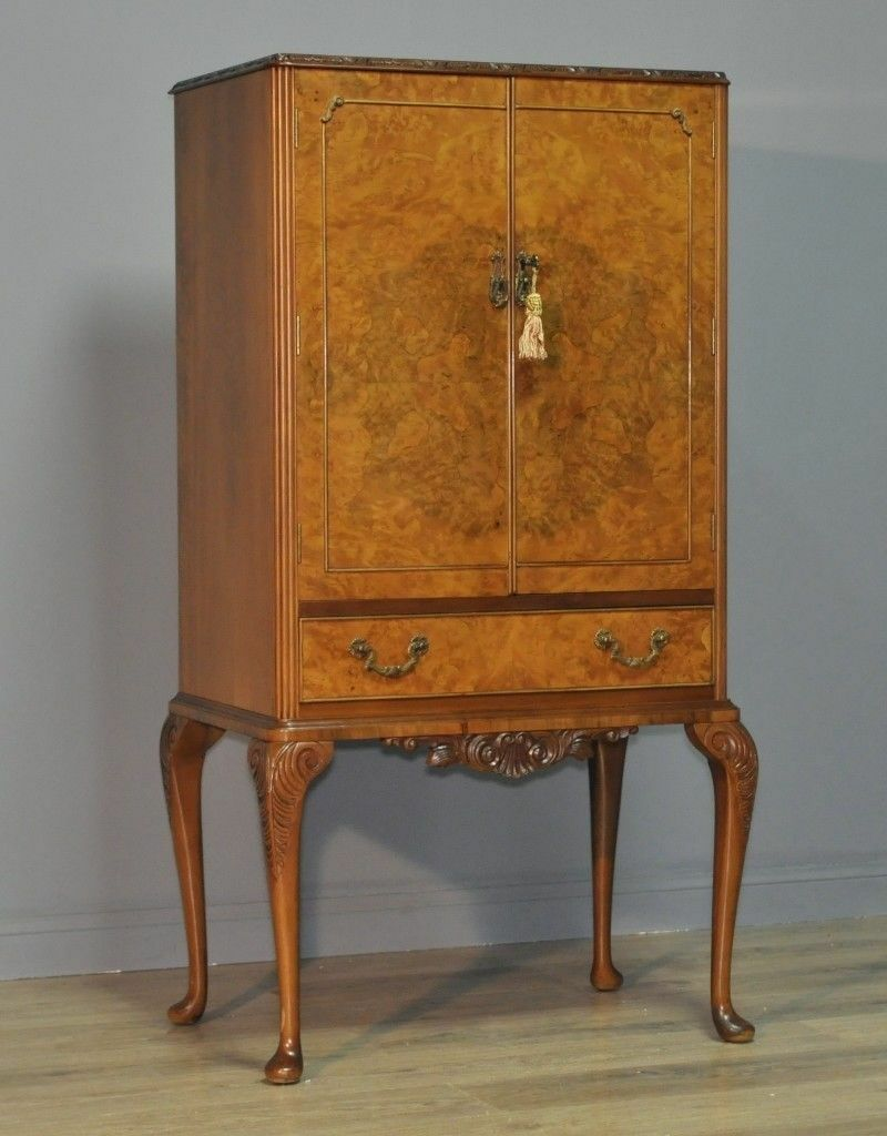 Attractive Large Vintage Queen Anne Style Burr Walnut Cocktail Drinks  Cabinet - Attractive Large Vintage Queen Anne Style Burr Walnut Cocktail