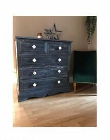 Dark navy and white chest of drawers