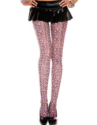 nwt NEON sexy MUSIC LEGS animal LEOPARD print OPAQUE tights PANTYHOSE stockings