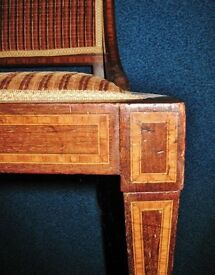 Antique Victorian Edwardian Inlaid Wood Upholstered Bedroom Dressing Hall Occasional Chair