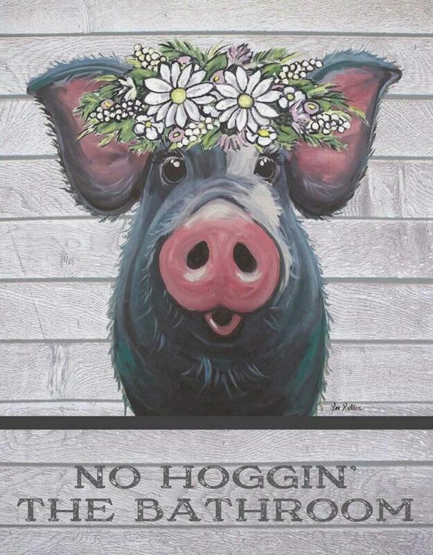 No Hoggin The Bathroom Cute Pig With Flowers Farm Tin Metal Sign Made In The USA