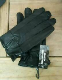 BRAND NEW. Mens black real leather gloves