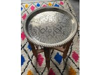 Moroccan Arabesque Carved Engraved Polished Brass Tray Folding Table