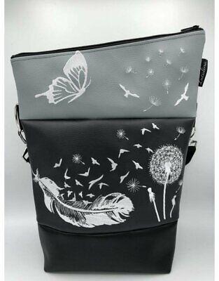 Handtasche Foldover (Pusteblume mit Feder) *handmade *bestickt Umhängetasche