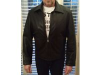 Men's black leather jacket by GUESS