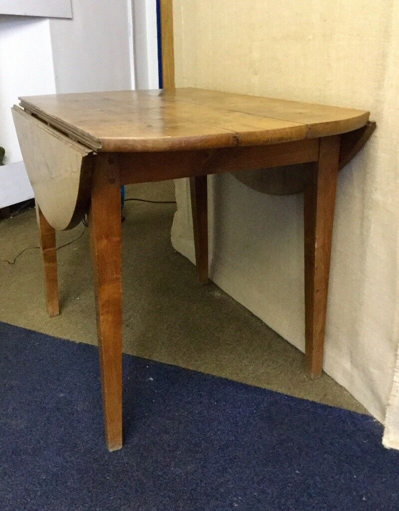 Antique French Round Drop Leaf Farmhouse Table Walnut Fruitwood