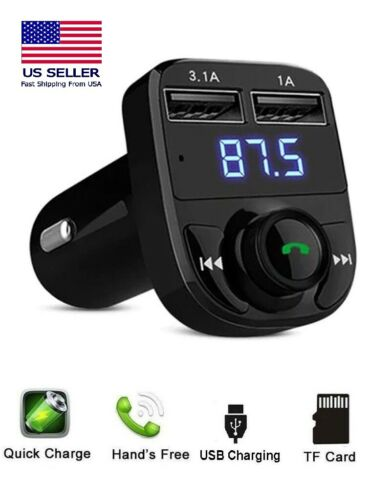 Bluetooth Car FM Transmitter MP3 Player Wireless AUX Radio Fast 2 USB Charger X8