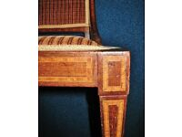 Antique Edwardian Inlaid Wood Upholstered Bedroom Dressing Hall Occasional Chair