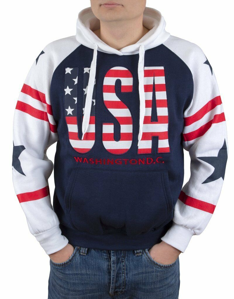 Washington DC USA American Flag Sweatshirt Hoodie Embroidered Letters Unisex