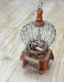 VINTAGE WOODEN BIRD CAGE, ORNATE WIRE FRAME, SWINGING PERCH, FRENCH CAGE AU FOLLES, SHABBY CHIC