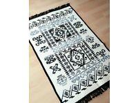 Brand new reversible Turkish kilim rug - Black/grey/cream