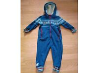 Next Blue White Red Fair Isle Unisex Baby Playsuit Baby Grow Pram Suit(Age 2-3)
