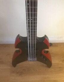 """ Kiss"" Silvertone special edition Gene Simmonds bass guitar"