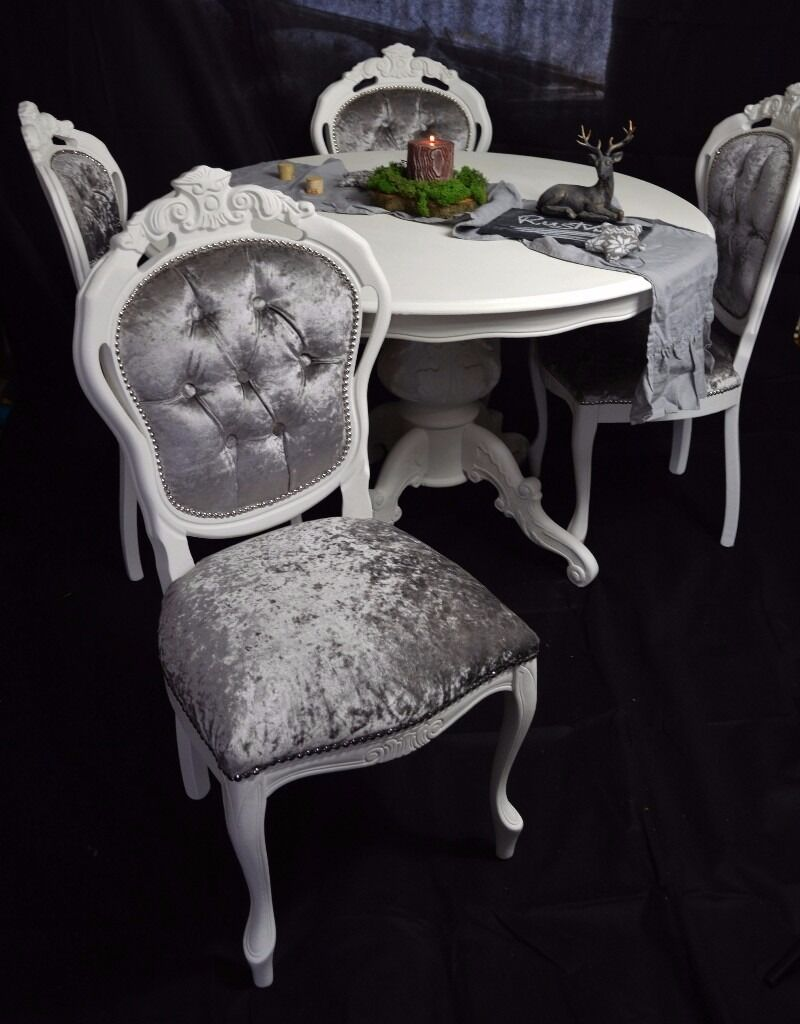 SHABBY CHIC FRENCH LOUIS STYLE ROUND DINING TABLE 4 LOUIS CHAIRS