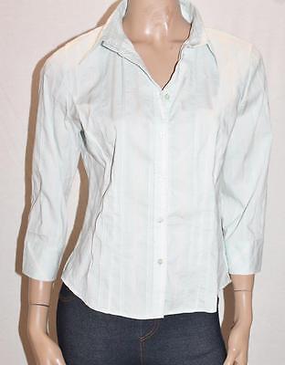 Sea Green-stripe (TARGET Brand Sea Green Stripe 3/4 Sleeve Stretch Shirt Top Size L BNWT #SS69)