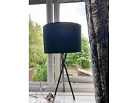 Black NEXT tripod table lamp chrome effect legs £15