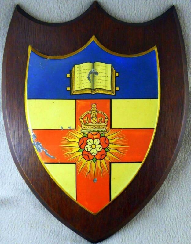 "Large 12.25"" c1900s Oak Shield, University of London Crest by Ede & Ravenscroft"