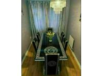 BRAND NEW VERSACE DESIGNER EXTENDING DINING TABLE WITH 4 OR 6 FAUX LEATHER CHAIRS.. fast delivery