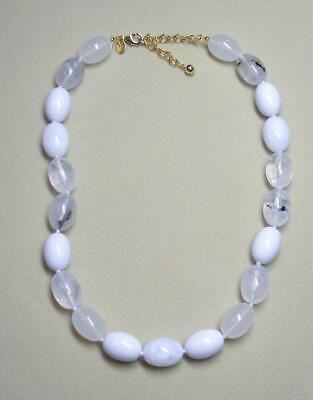 """JOAN RIVERS GOLD PLATED SHADES OF WHITE OVAL RESIN BEAD 20"""" NECKLACE NEW"""