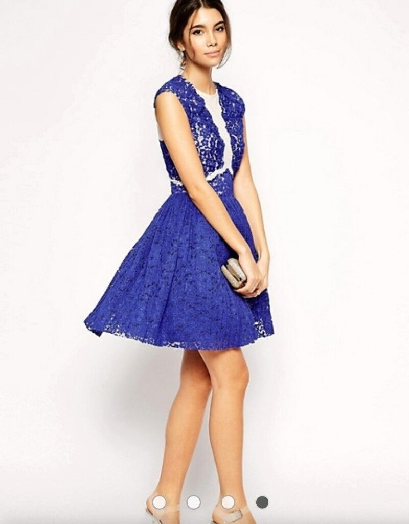 Lace Lique Asos Premium Royal Blue Prom Wedding Guest Special Occasion Dress