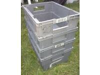 Job lot four small grey plastic resin nesting stacking boxes