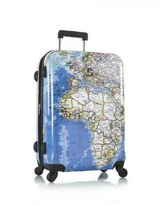 "Heys Maps Cartes hard shell nwts 26"" spinner luggage  case retail $139"