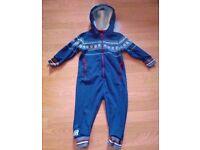 Next Blue White Red Fair Isle Unisex Baby Playsuit Baby Grow Pram Suit(Age 2-3).