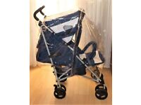my babiie pram navy blue and white , with bumper bar and a universal raincover , good condition