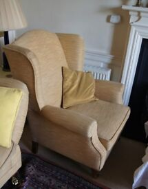One or Two Gold Covered Wing Back Arm Chairs
