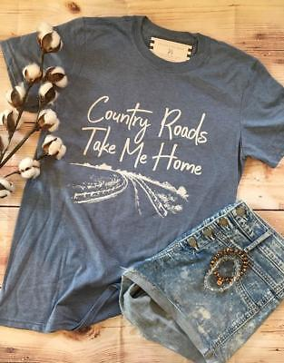 Southern Couture Country Roads Take Me Home Soft Vtg Style T Shirt   Front Print