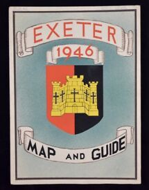 VINTAGE ORIGINAL EXETER MAP & GUIDE 1946 DRAWING ARTWORK KEITH LEWIS