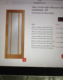 """OAK DOORS WITH OBSCURE GLASS NEW SHRINKWRAPPED FRENCH DOORS INTERIOR DOORS 27"""" X 78"""""""
