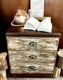 Rustic side table / chest of drawers