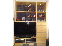 TV and Display cabinet - IKEA Kubist, including glass display shelves and lights.